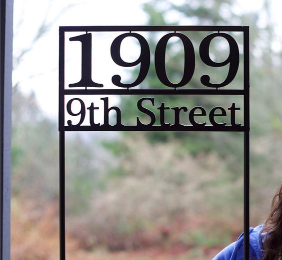 House number with stakes / Steel house numbers / Craftsman ...