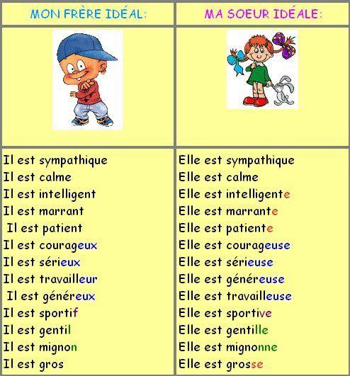 Le féminin des noms et des adjectifs -- mon prof/parent/ami/ etc ideal :)