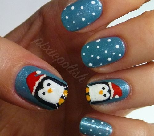 christmas  penguins #nail #nails #nailart
