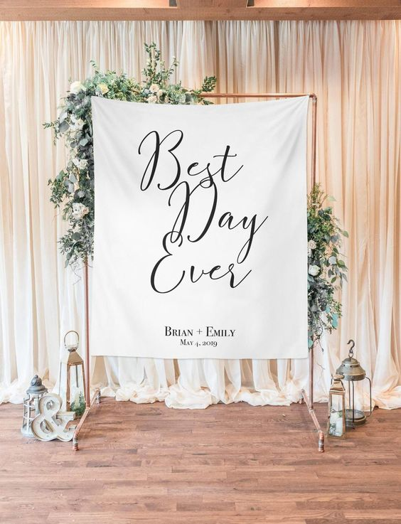 Best Day Ever Wedding Backdrop, Dessert Table Decor, Wedding Arch Background, Head Table Decor, Rustic Wedding Background by ArianaKHome on Etsy