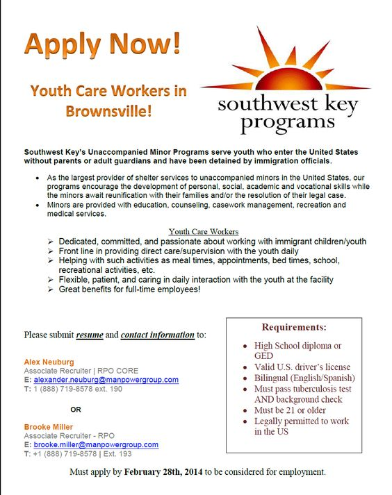Southwest Key is hiring for youth care workers in Brownsville, TX - associate recruiter resume
