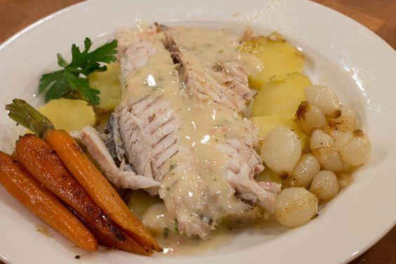 Fish with Lemon Tarragon Beurre Blanc sauce.