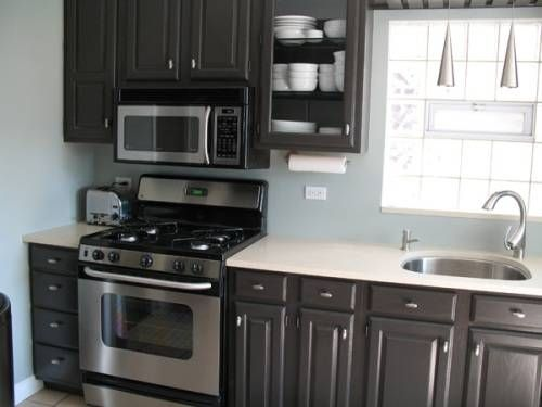 LOVE THIS! Dark Gray Cabinets, white (or light gray speckled ...