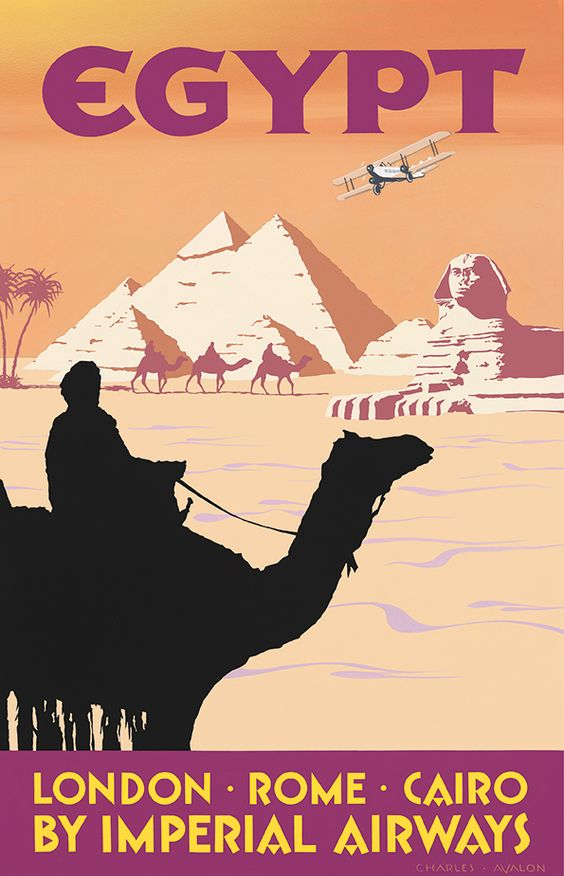 PEL325: 'Egypt - Imperial Airways' by Charles Avalon - Vintage Travel Posters - Art Deco - Pullman Editions