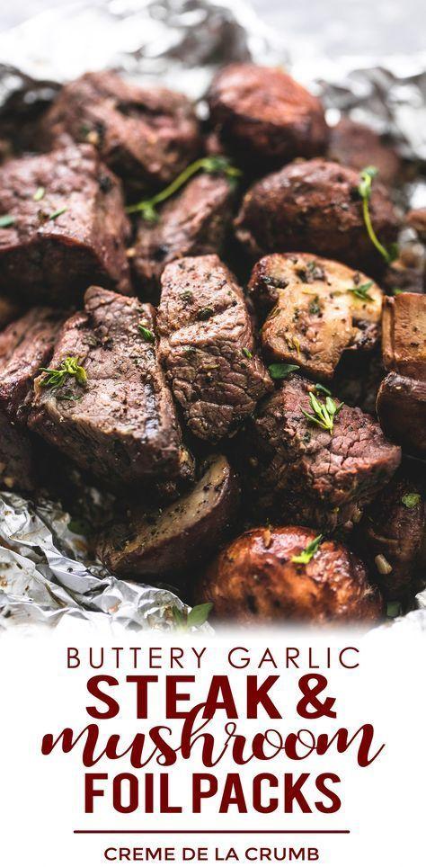 Buttery Garlic Steak And Mushroom Foil Packs