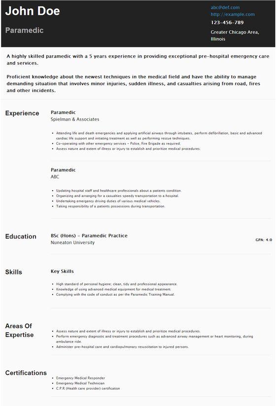 Paramedic Resume Paramedic resume Pinterest Resume and Paramedics