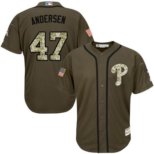 Phillies #47 Larry Andersen Green Salute to Service Stitched MLB ...