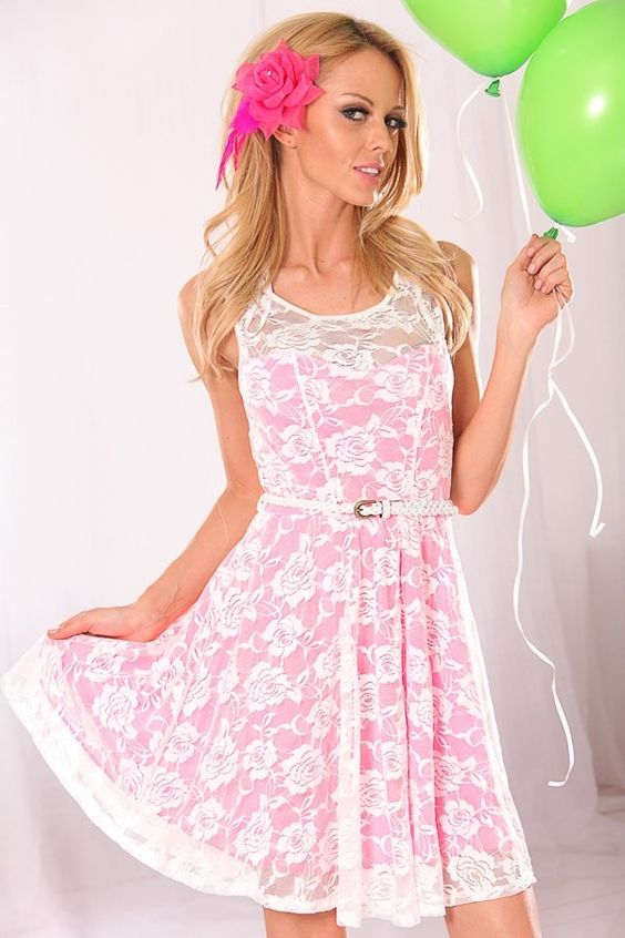 WHITE NEON PINK FLORAL MESH LACE DRESS-Cute &amp- Trendy Casual ...