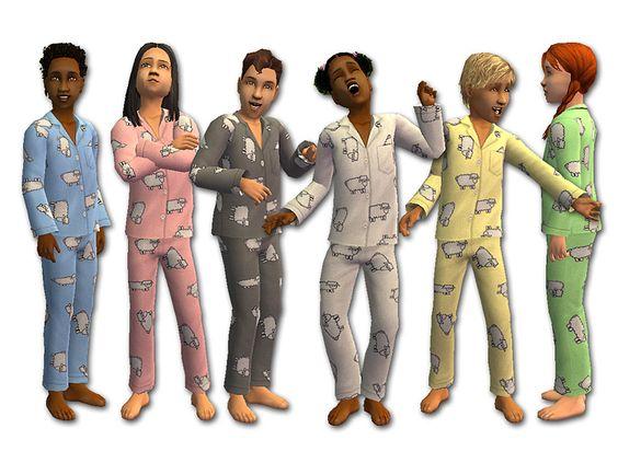 Mod The Sims - Sheepish Flannel Pajamas | TS2 Clothing - CM ...