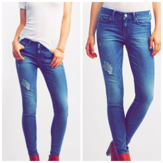"✨Brand New ✨Distressed Denim Jeggings Brand New, Never worn: Too tight on me, couldn't get them on past my knees. I'm a size 6. The jeggings are a size 4. Classic medium washed denim destroyed jeggings (jean+leggings). Zip fly. 81%Cotton/17%Polyester/2%Spandex. Skinniest fit. Fading & whiskering through the knees. Narrow stitching/ back pocket embroidery. 10"" Leg opening.  ✨ Listed brand for exposure- jeans are really from Aéropostale✨My Measurements: Waist: 26""-27.5"" Hips: 38.5""-39""…"
