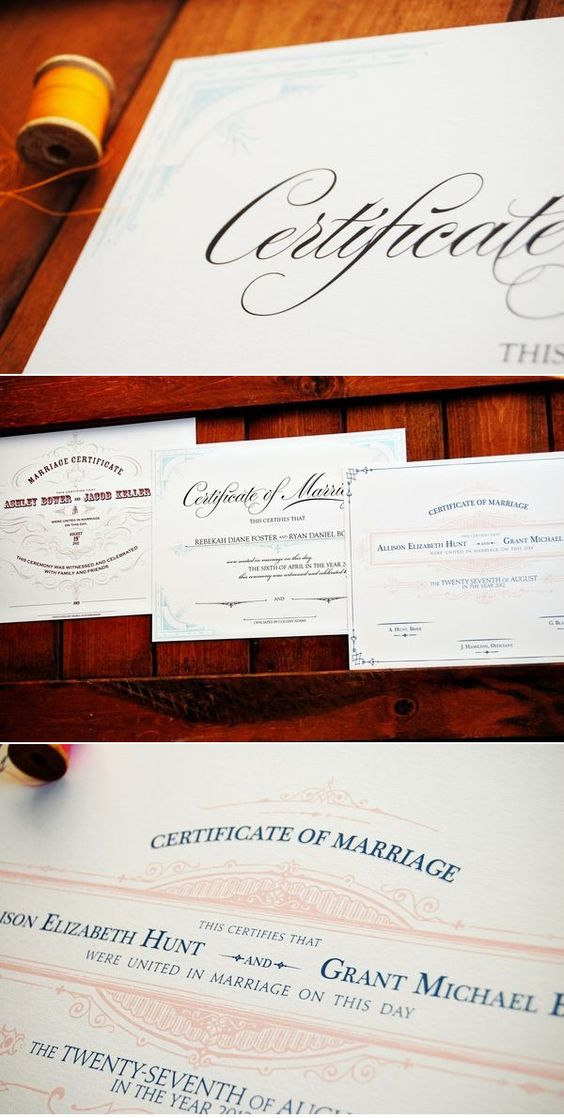 a neat gift for the bride and groom to frame a fancy marriage certificate