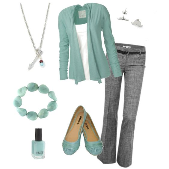 """""""Cute for Work!"""" by lawraloo on Polyvore.  Just not crazy about the earrings and necklace."""