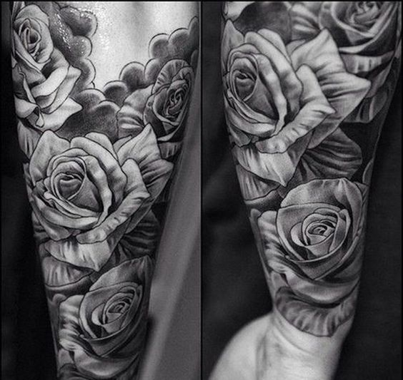 Men 39 s black gray tattoos black and grey rose tattoos for Black and gray rose tattoos