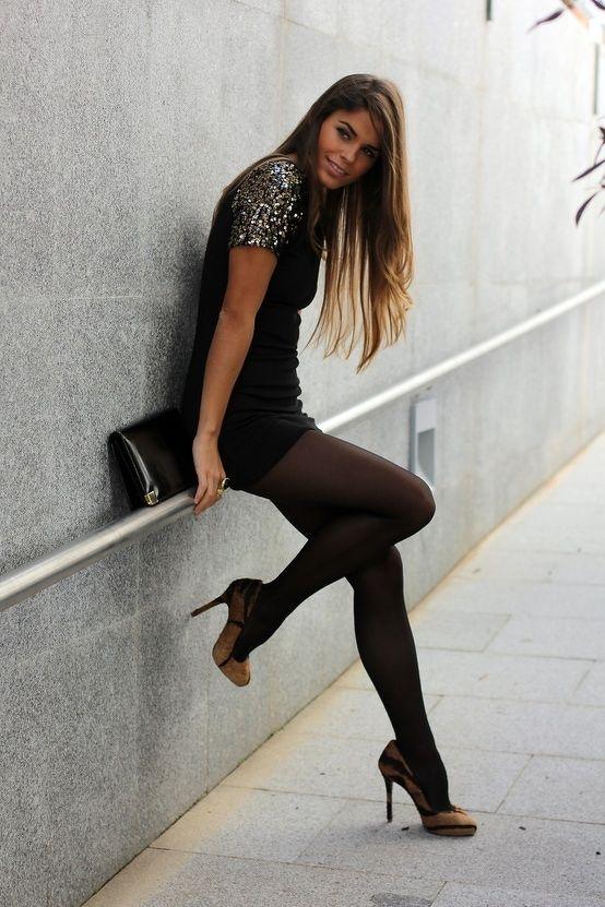 Little black dress + tights + brown pumps | Fall/Winter Fashion Iu0026#39;d wear | Pinterest | Beautiful ...
