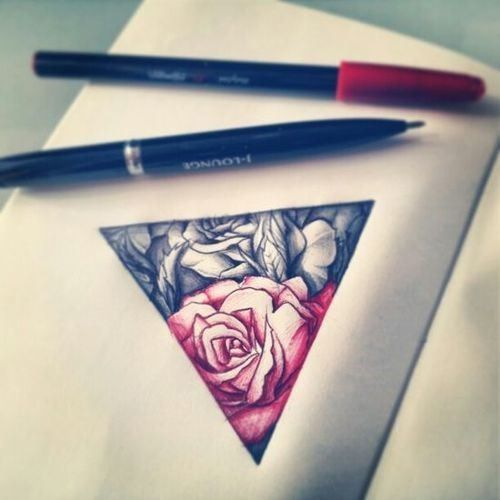 triangle rose tattoo red n black- I love the triangle aspect of this with the roses inside. I would place this on my lower forearm maybe.
