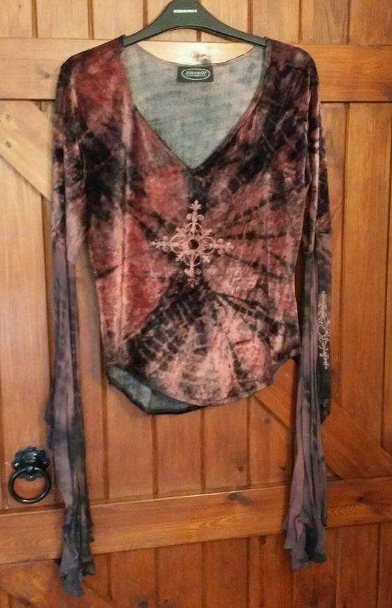 Rare Jordash burgundy velvet tie dye dark red Gothic batwing hippy top 12 14