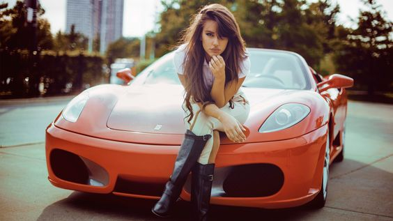 Mulher Girls & Cars  Ferrari  Red Car Carro Modelo Woman Papel de Parede
