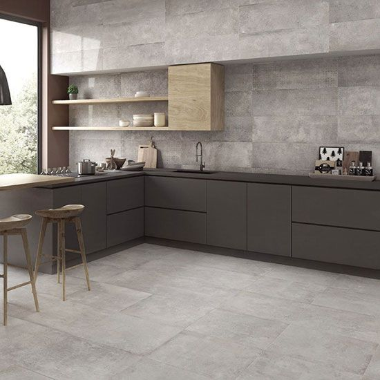 Grey Floor Tile For Kitchen Bedroom Bathroom Add Luxurious To Your Space In 2020 Grey Kitchen Floor Grey Wall Tiles Grey Kitchen Walls