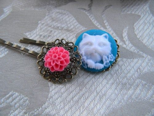 Bright Blue Cat Cameo and Pretty Hot Pink Flower Bobby Pins Set of 2 | RosesHeirlooms - Jewelry on ArtFire
