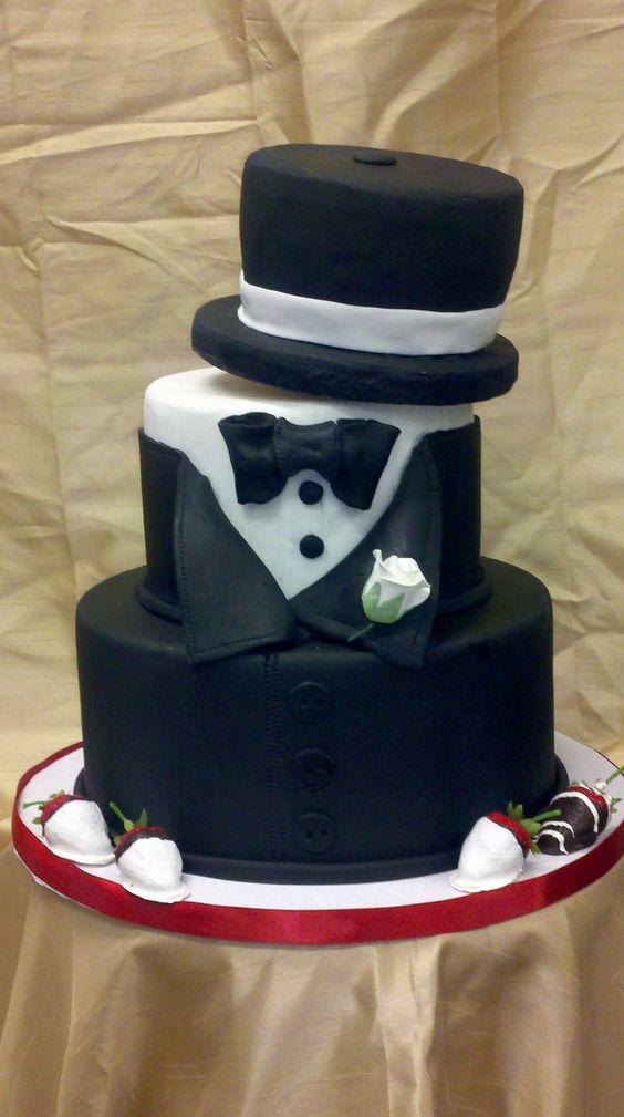 Tuxedo Top Hat Cake My Cakes Pinterest Groom Cake