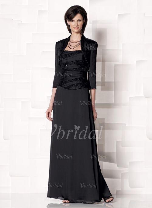 Kleider für die Brautmutter - $142.99 - Etui-Linie Herzausschnitt Bodenlang Chiffon Charmeuse Kleid für die Brautmutter mit Spitze Perlen verziert (00805008539)