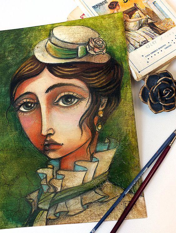 OOAK  Emma Bovary oil pastels portrait  by MrsPeggottyArts on Etsy, €90.00