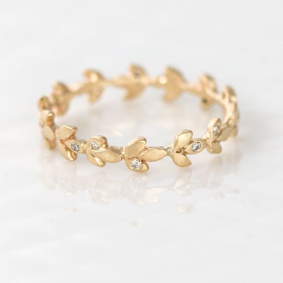 Melanie Casey - Vine Wedding Band in 14k Gold with White Diamonds, $968.00 (http://www.melaniecasey.com/vine-wedding-band-in-14k-gold-with-white-diamonds/)