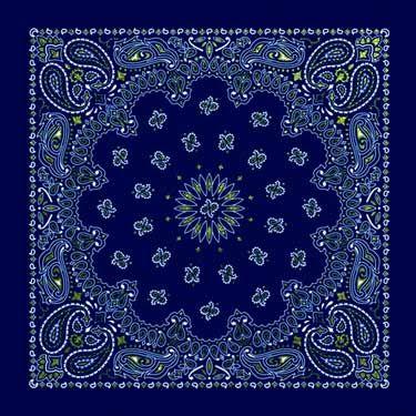 Blue Glitter Paisley Bandana