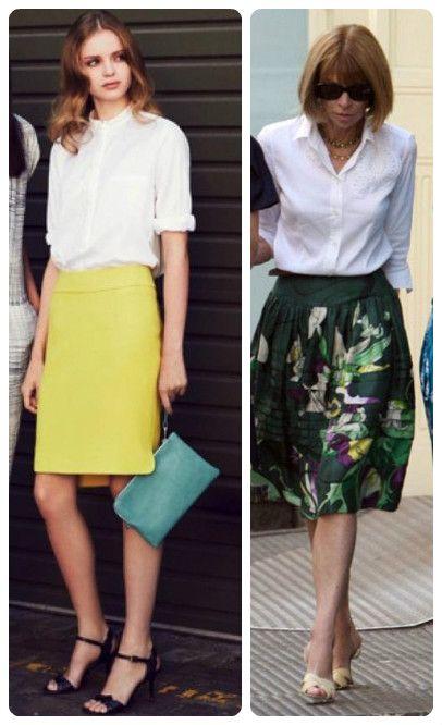 Белая рубашка зелёная юбка