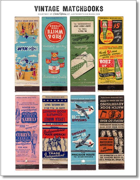 Vintage matchbook advertisements.