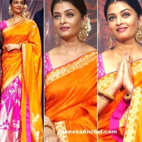 Aishwarya Rai In Orange Pink Ekaya Benaras Lehenga Style Saree Pakeezaanchal Hi Fashion Bollywood Celebrities Fashion Tips For Women