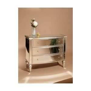The Accents Mirrored Bow Front 3-Drawer Chest Dresser by BMC A1577