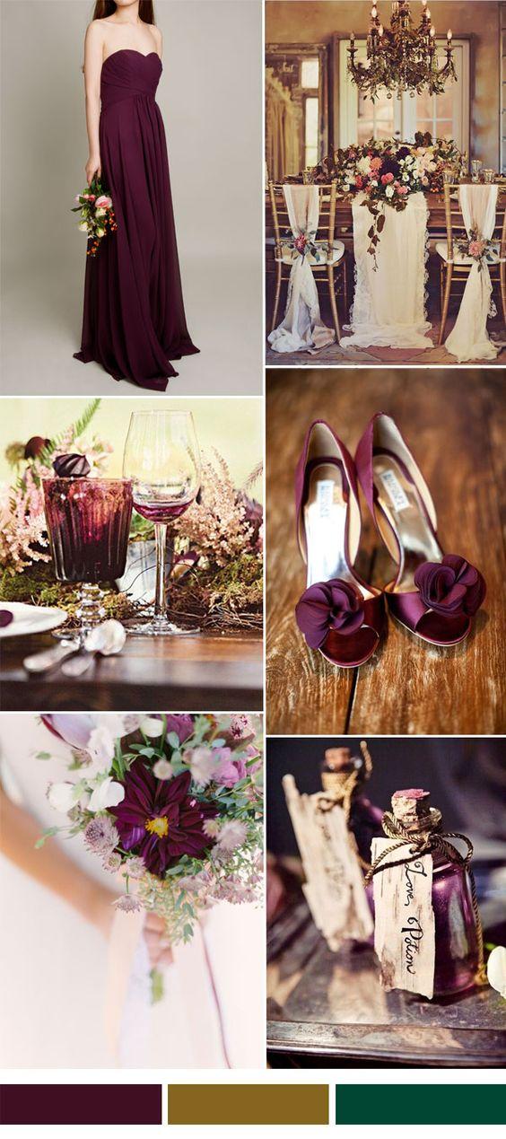 aubergine wedding color ideas and bridesmaid dress trend 2015