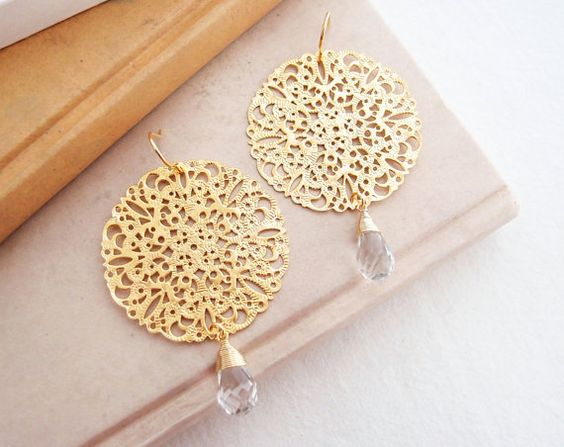 Crystal and Gold Filigree earrings by nayring on Etsy