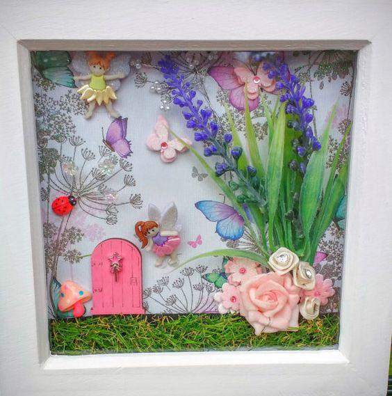 Fairy door scene box frame sale fairy garden wall art for Fairy door wall art