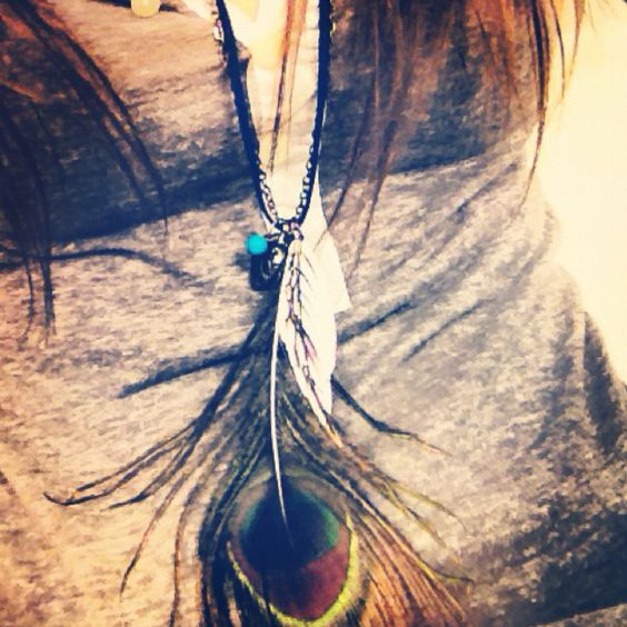 Peacock feather necklace <3: