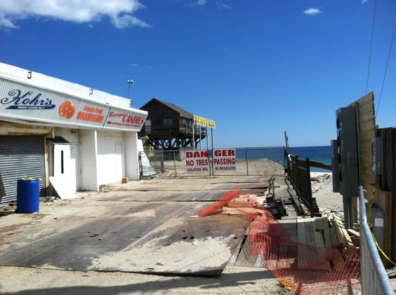 Seaside New Jersey, picture of the Boardwalk just after Hurricane Sandy. Kohrs & Fun