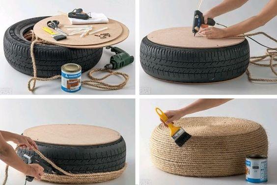 tuto facile de diy déco - comment se faire un ottoman en vieux pneu et corde