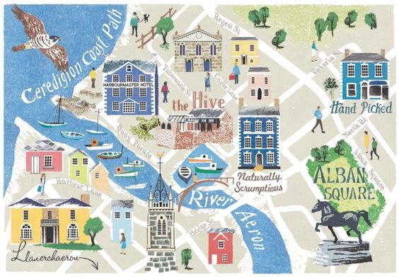 Anna Simmons - Map of Aberaeron for Coast Magazine