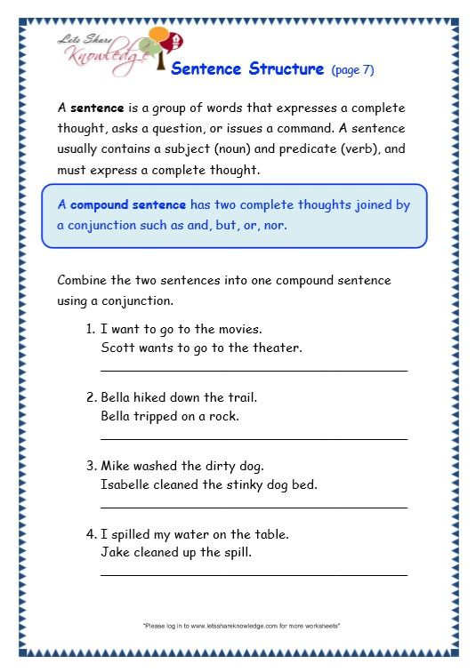 Sentence Structure Worksheet Text Structure Worksheets Sentence Structure Complex Sentences Worksheets Writing sentences worksheet 3rd grade