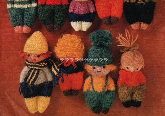 Vintage Knitting Pattern to make A Variety of Cute Easy Little Mascot Dolls with…