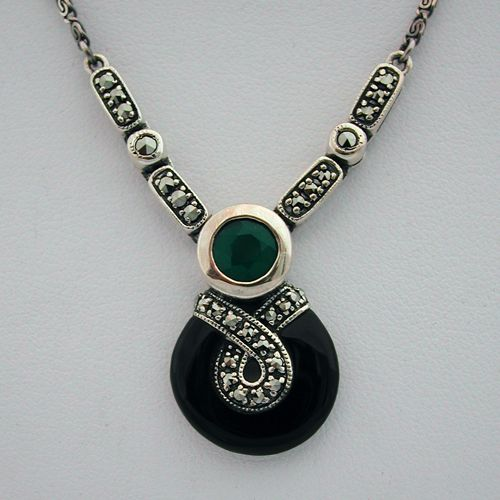Collier argent agate onyx 85