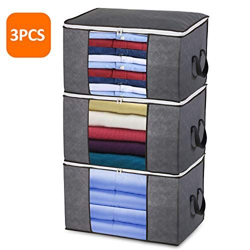 Large Clothes Storage Bags With Zips 3 Pcs Duvet Storage Bag King Size Thick Breathable Fabric Und In 2020 Underbed Storage Bags Storage Bags For Clothes Bag Storage