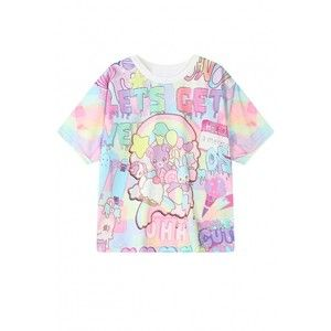 Colorful Cartoon Animals Print Round Neck Short Sleeve T-Shirt