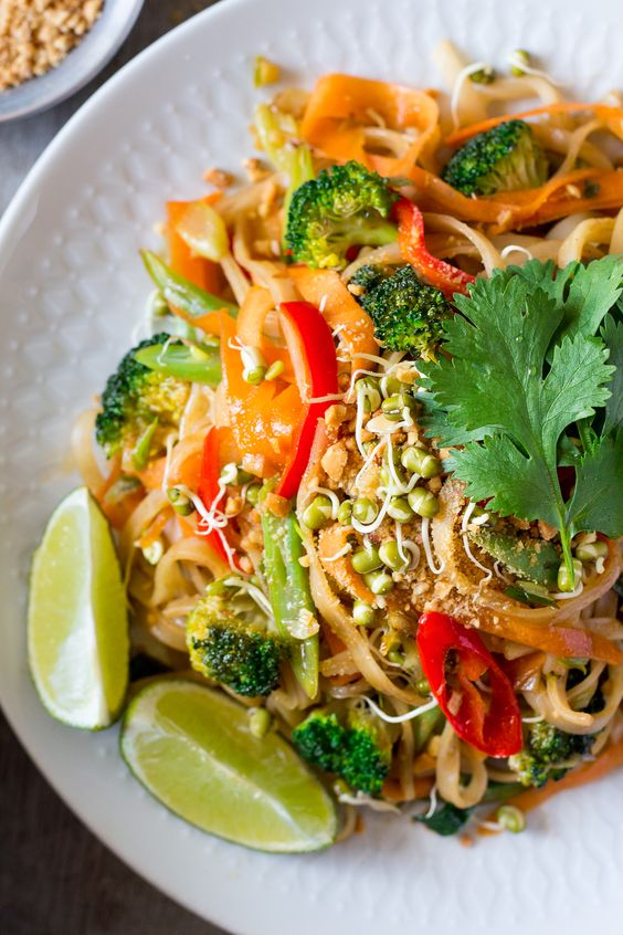 vegan pad thai close up