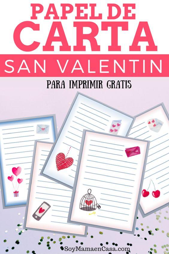 Precioso set de Papel de Carta para imprimir gratis y enviar como regalo en el Día de San Valentín o cualquier día del año. => Haz Pin para guardar ¡ no te lo puedes perder !