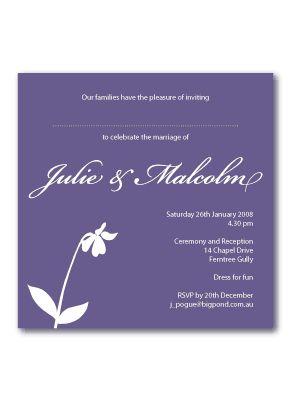 flower wedding invites purple