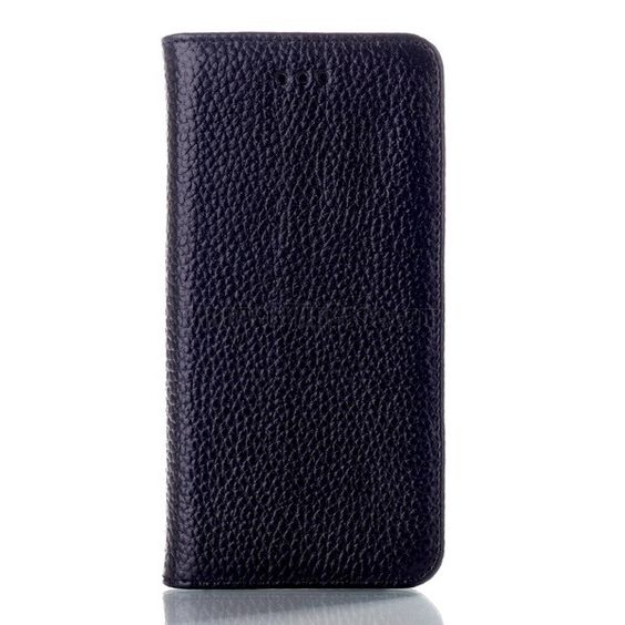 """Litchi Texture Genuine Leather Flip Cover Case For iPhone 6 4.7"""" Black"""