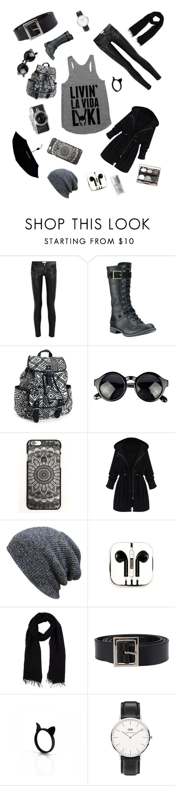 """""""Black and Grey Day"""" by demiwizard107 ❤ liked on Polyvore featuring Yves Saint Laurent, Timberland, Aéropostale, Retrò, PhunkeeTree, Blue Les Copains, Dolce&Gabbana, Daniel Wellington, Nude by Nature and Christian Dior"""