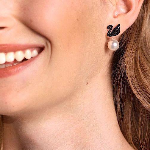 Iconic Swan Pierced Earring Jackets Black Rose Gold Tone